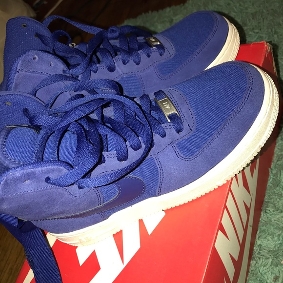 Nike Shoes Air Force 1 High Gs Deep Royal Blue White Poshmark